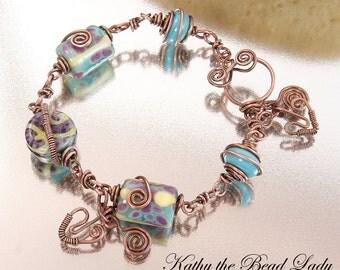 Lampwork Copper Wire Wrapped Bracelet-KTBL
