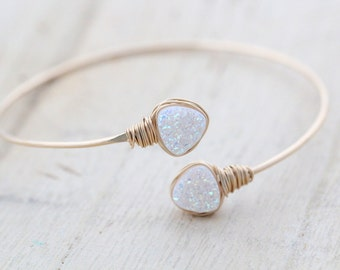 Druzy Geometric Bracelet , Bezel Wrapped Bangle in 14k Gold Fill , Triangle White Druzy Wrap Style ,  Modern Fashion