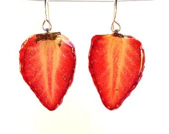 Real Strawberry Fruit Earrings