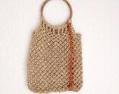 Vintage Straw Bag, Tote  -  Crocheted  Hemp Handbag with wood Handles, Spring Accessory