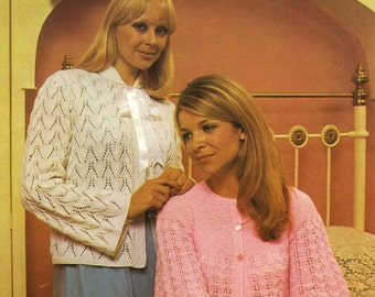 Vintage Ladies Bed Jackets (Ribbon Trimmed and Button Through) Knitting Pattern, 1960 (PDF) Pattern, Patons 1196
