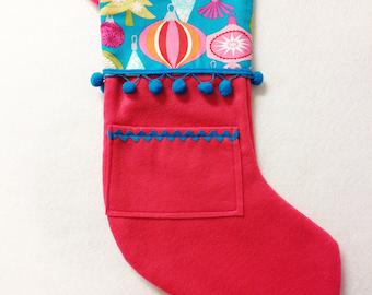 Christmas Stocking, Pink Stocking, Pick Your Own Pocket Peeper - Jingle Jangle - Fuchsia Teal Ornaments