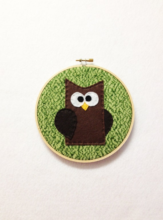 Owl Wall Art, Wall Hanging, Fabric Wall Decor, Bob the Brown Owl, Felt Animals, Woodland Decor