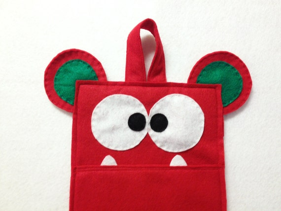 Monster Stocking, Christmas Stocking, Ruby The Monster, Red, Green, Gifts for Kids, Felt Monster, Gifts under 50