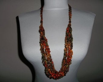 Crochet Ladder Yarn Necklace 6 Strand Jazzi 104 Fall Colors Adjustable Length, Handmade, Gift