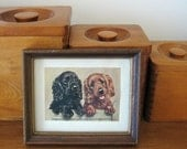 Vintage Cocker Spaniels -- Miniature Framed Print -- Black and Red Spaniels