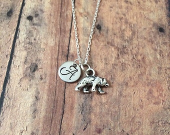 Bear initial necklace - bear charm necklace, grizzly bear necklace, black bear necklace, silver bear necklace, bear jewelry, animal necklace