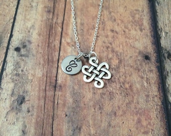 Celtic knot initial necklace - Celtic cross necklace, Celtic knot jewelry, silver Celtic knot necklace, Gaelic necklace, Irish necklace