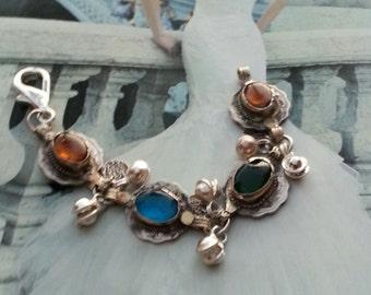 Afghani Coin/ Bell Link Charm Bracelet-Bohemian Gypsy Style