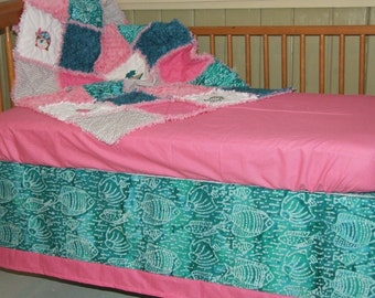 Custom Personalized Nautical Pirate Pink Teal Gray w/ Minky 3 Pc Rag Quilt Skirt Sheet Crib or Toddler Bedding Set  **READY To SHIP**