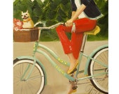 Francine And Her Frenchie.  Art Print.