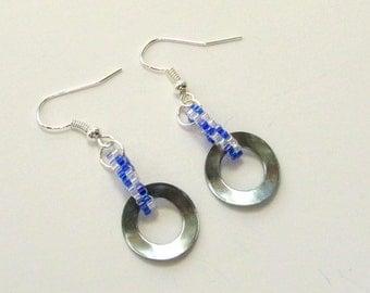 Hardware Earrings - Washer Earrings - Metal Earrings - Industrial Earrings - Stainless Steel Earrings - Blue Beaded Earrings