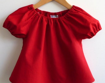 50% OFF Peasant Top, solid red, Size 2-3