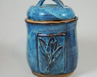 blue lidded ceramic pottery jar, storage, decorative J4