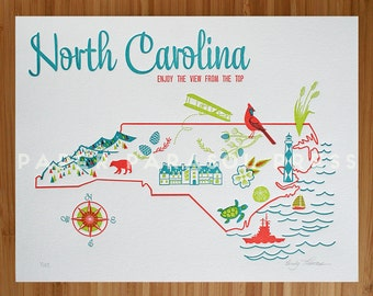 North Carolina State Letterpress Print 8x10