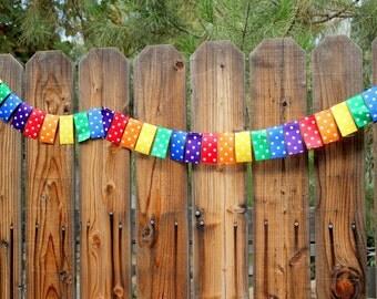 Rainbow Ribbon Bunting with Polk a Dots 8 Feet Long