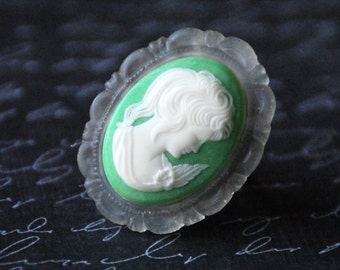 Vintage Cameo Ring, Green White Cameo, Green Cameo,Green Ring, Neo Victorian Ring, Adjustable Ring, Cameo Jewelry, SRAJD JewelryFineAndDandy
