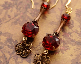 Estate Style Red Earrings, Red Victorian Earrings, Vintage Style, Long Earrings, Antiqued Brass Filigree Earrings, NeoVictorian, SRAJD