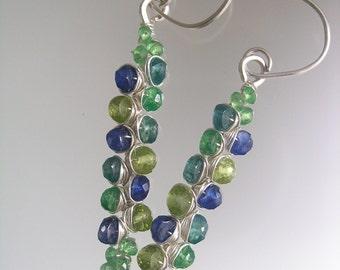 Ocean Gemstone Earrings, Tsavorite Silver Wire Wrapped Stems, Kyanite, Sea Glass Dangles, Green Vines, Signature Original, Made to Order