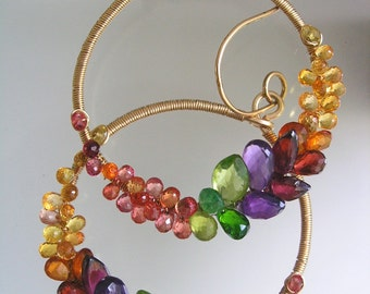 Rainbow Gemstone 14k Gold Filled Hoops, Prismatic Wire Wrapped Earrings with Amethyst, Sapphire, Tsavorite