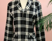 Ladies Navy Blue and White Checkered Cropped Blazer Zipper Closure