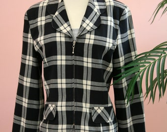 Ladies Navy Blue and White Checkered Cropped Blazer Zipper Closure, Plaid Blazer, Small Ladies Blazer, Zippered Blazer