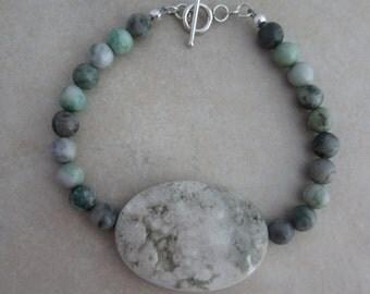 Green Ocean Jasper Sterling Silver Bracelet