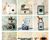 CLEARANCE - 2014 calendar - The Quirky Cameras - a fun 4x6 loose leaf desk photo calendar featuring vintage cameras, maps and toy animals - SusannahTucker