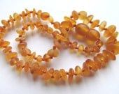 Genuine Baltic amber teething necklace,Honey - raw amber beads