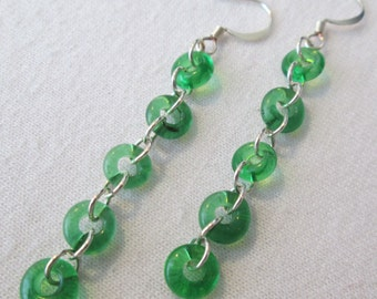 Grass Green Chain Earrings