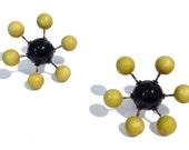 Sputnik Earrings Chartreuse & Jet Black Posties - mod retro lucite post earrings