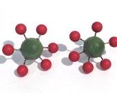 Sputnik Earrings Forest Green & Deep Red Matte Posties - mod retro lucite post earrings
