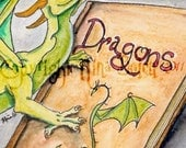 Favorite Book Photo Print Original Dragon Fantasy Art by Nina Bolen ACEO size up to Poster Size Print