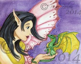 Love at First Flight Fantasy Artwork Print Poster Original artwork by artist Nina Bolen