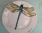 Custom Porcelain Hand Painted Dragonfly Plate for Birthday Special Occasion Wedding or Engagement Gift Ready to Ship