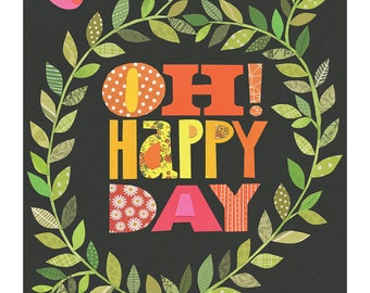 oh happy day birds - joyful, bright, colourful, inspirational 11x14 GICLEE PRINT