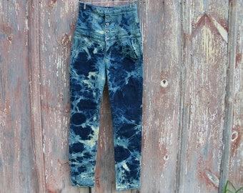 Bleach Tie Dyed Super High Waist Skinny Jeans Junior Size 9