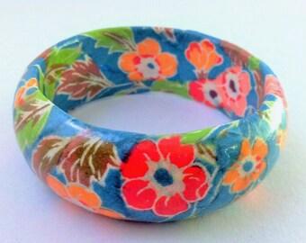 Retro Polynesian Floral Hand-Decoupaged Handmade Wood Bangle Bracelet