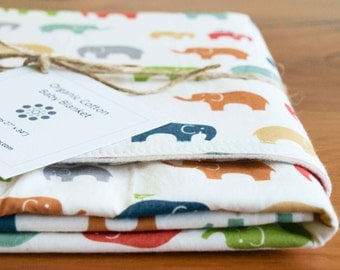 Elephant Blanket, Organic Baby Gift, Colorful Receiving Blanket, Organic Baby Blanket, Baby Shower Gift in ELEPHANT FAMILY