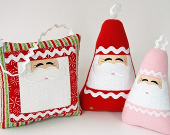 In the Hoop Santa Softies & Matching Quilt Block Machine Embroidery Design Files Instant Download