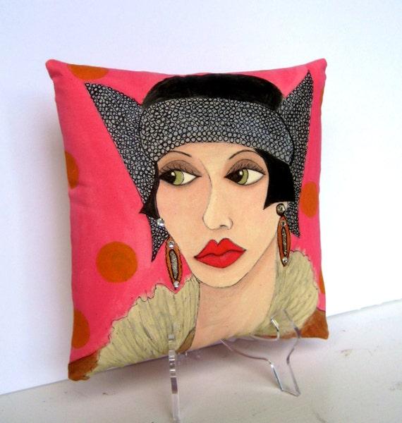 TRIXIE ART DECO pillow, hand painted pillow, rose color, gift for women, art deco, fun quote, novelty pillow, fur coat, art deco hat,