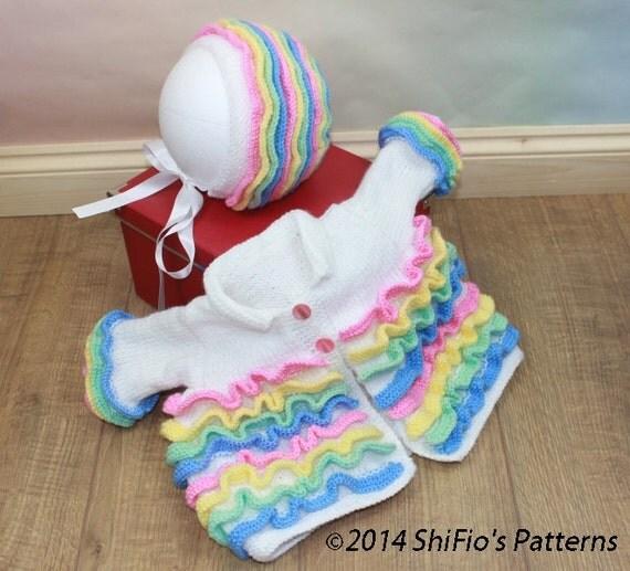 KNITTING PATTERN For Rainbow Baby Matinee Jacket & Bonnet PDF 42