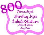 800 Personalized Pink Hershey Kiss Labels Chevron, Damask, Dots, Stripe, Hearts, Zebra