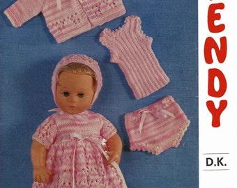 "Vintage 14"" Dolls Clothing, Knitting Pattern, 1960 (PDF) Pattern, Wendy 1690"