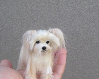 Needle Felted MORKIE Custom Dog Portrait Sculpture by GERRY Poseable Lifelike
