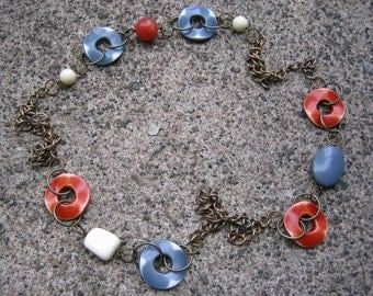 Eco-Friendly Statement Necklace - Turning a Corner - Recycled Vintage Chunky Brass Chain, Plastic Beads in Brick Red, Slate Grey & Off-White