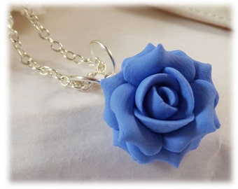 Dainty Blue Rose Necklace - Blue Rose Jewelry, Blue Flower Necklace