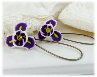 Purple Iris Dangle Earrings - Iris Drop Earrings, February Birthday Birth Flower