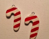Ceramic Christmas Candy Cane Charms Earring Pair or Small Pendants