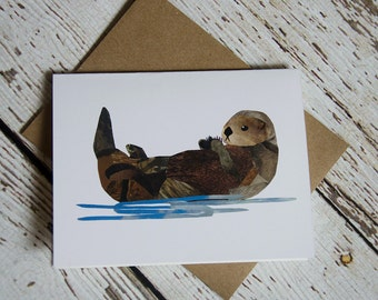 Sea Otter Card of Original Collage
